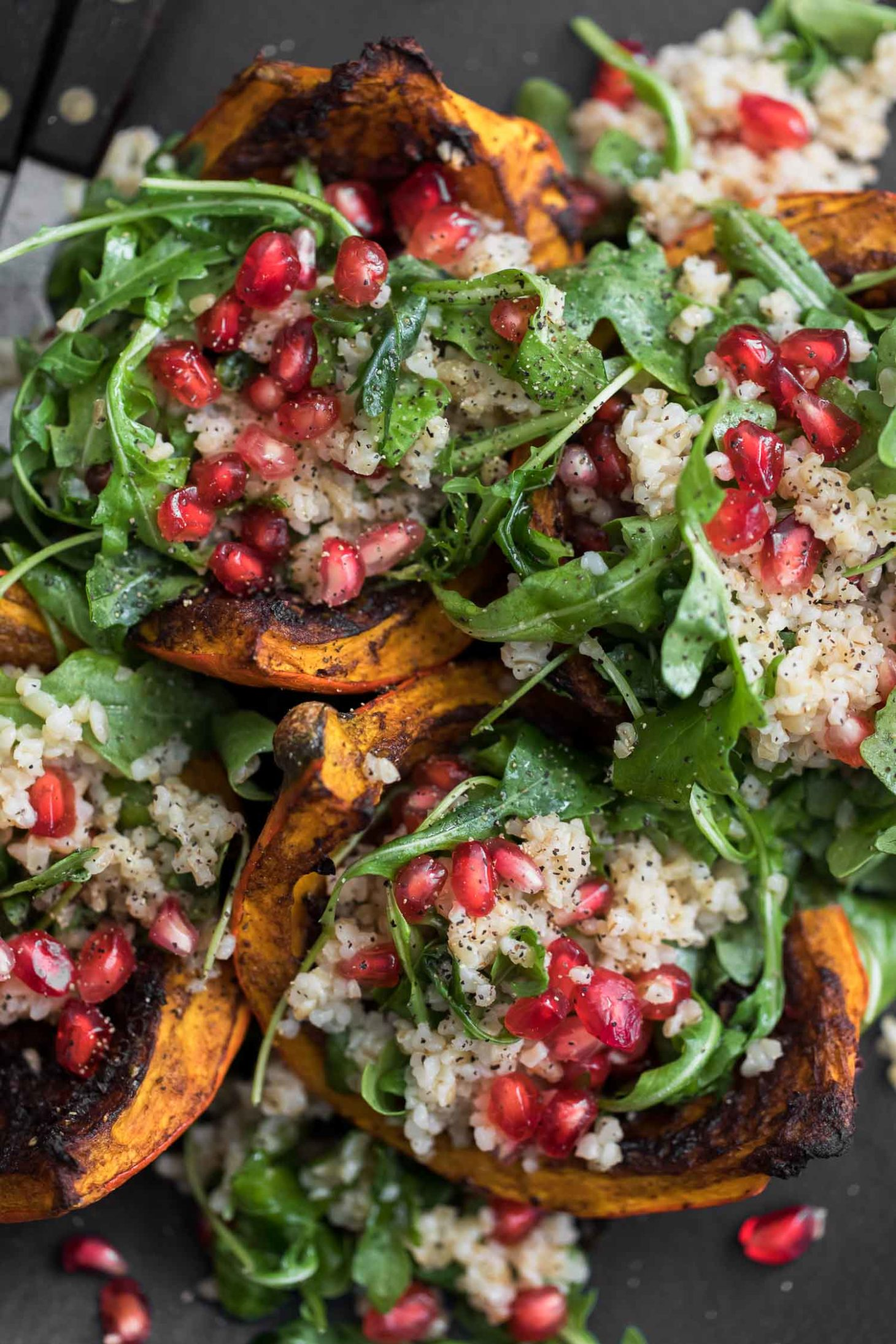 Jerk Roasted Kuri Squash with Bulgur Salad | Naturally Ella