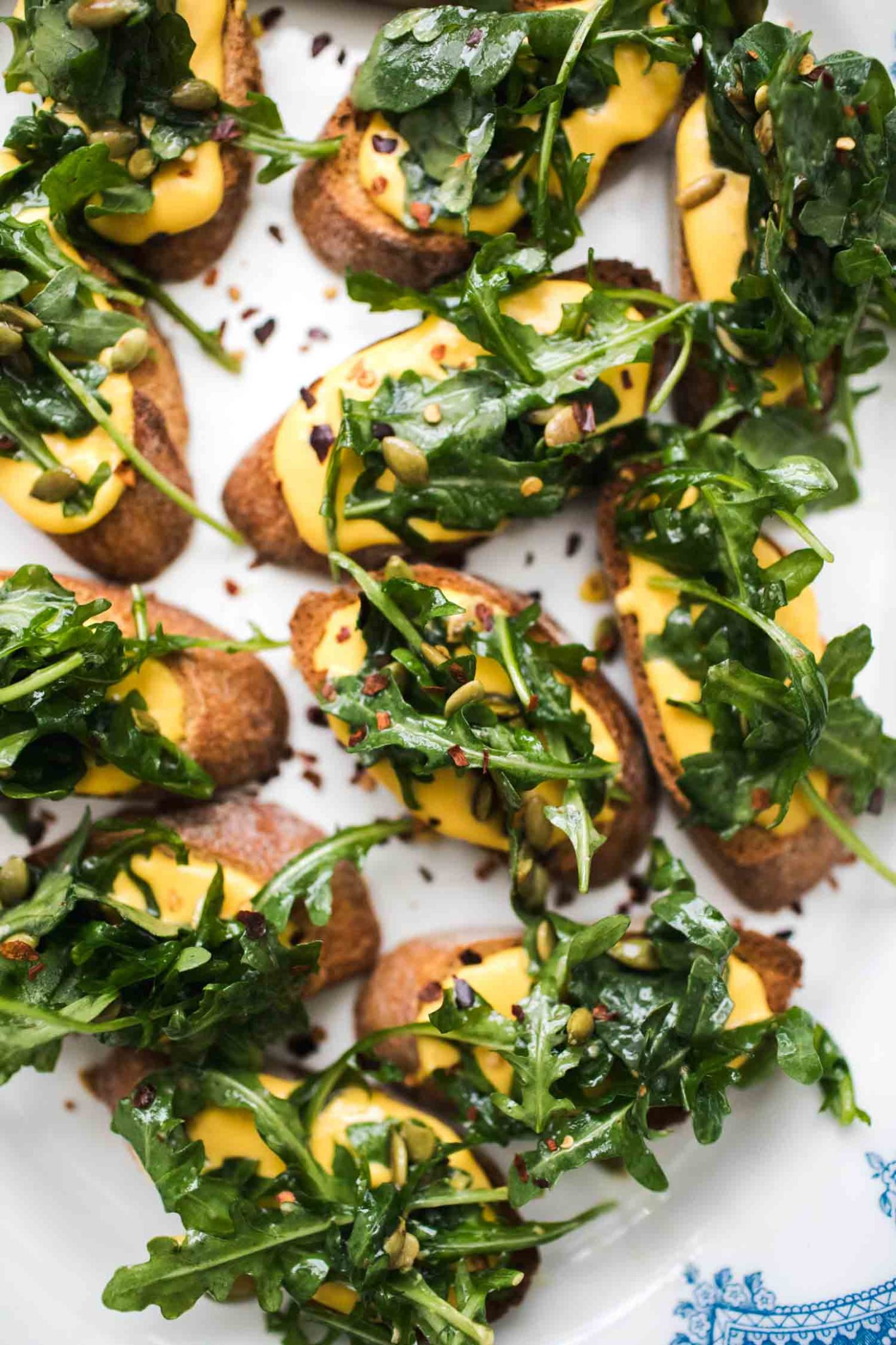 Pumpkin Ricotta Crostini with Arugula | Naturally Ella