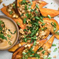 Sweet Potato Wedges with Peanut Sauce | Naturally Ella