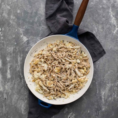 Roasted Cauliflower Pasta with Poppy Seed Cream Sauce | Naturally Ella