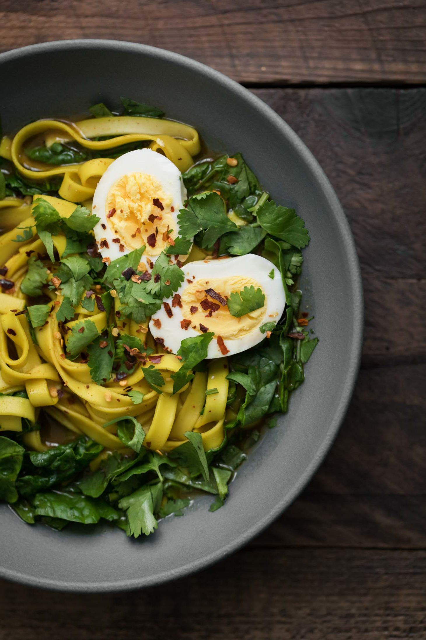 Curry Broth Noodles with Spinach and Egg | Naturally Ella