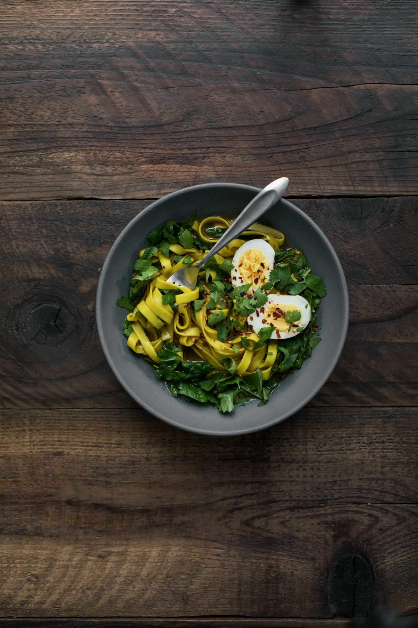 Curry Broth Noodles with Spinach | Naturally Ella