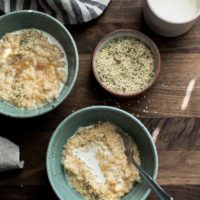 Brown Rice Porridge with Cream and Hemp Seeds | Naturally Ella
