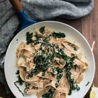 Kale Pasta with Sunflower Cream Sauce