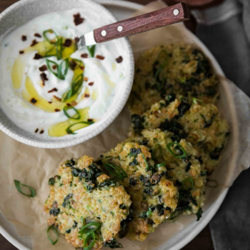 Kale Bulgur Fritters with Garlic Yogurt | Naturally Ella