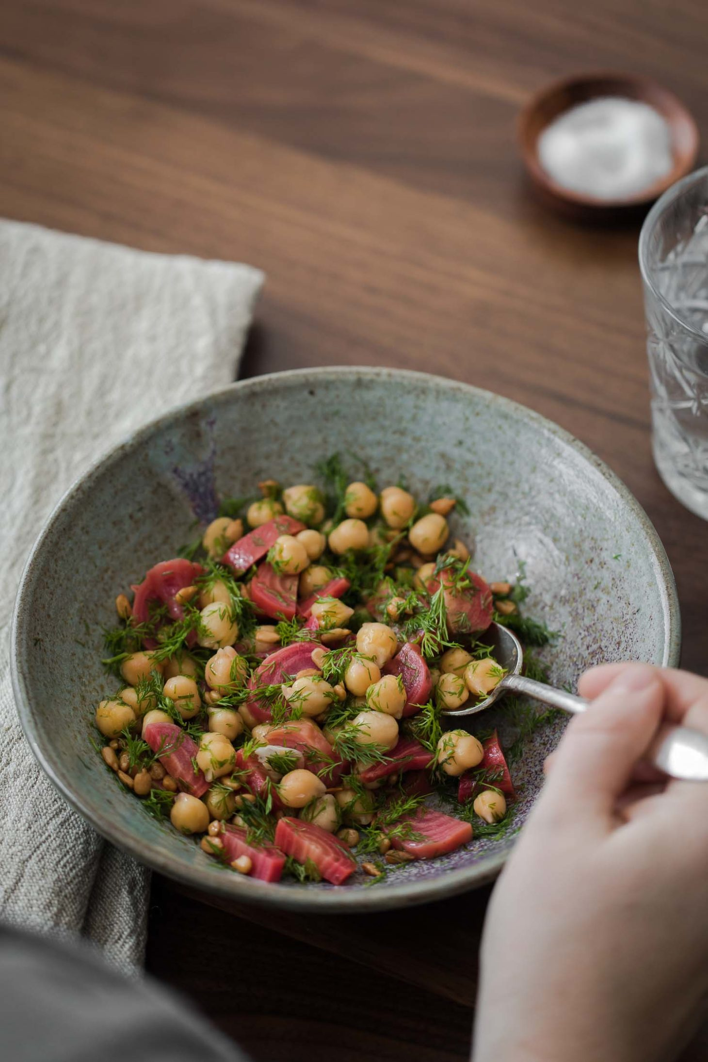 Dill Beet Chickpea Salad with Sunflower Seeds | Naturally Ella
