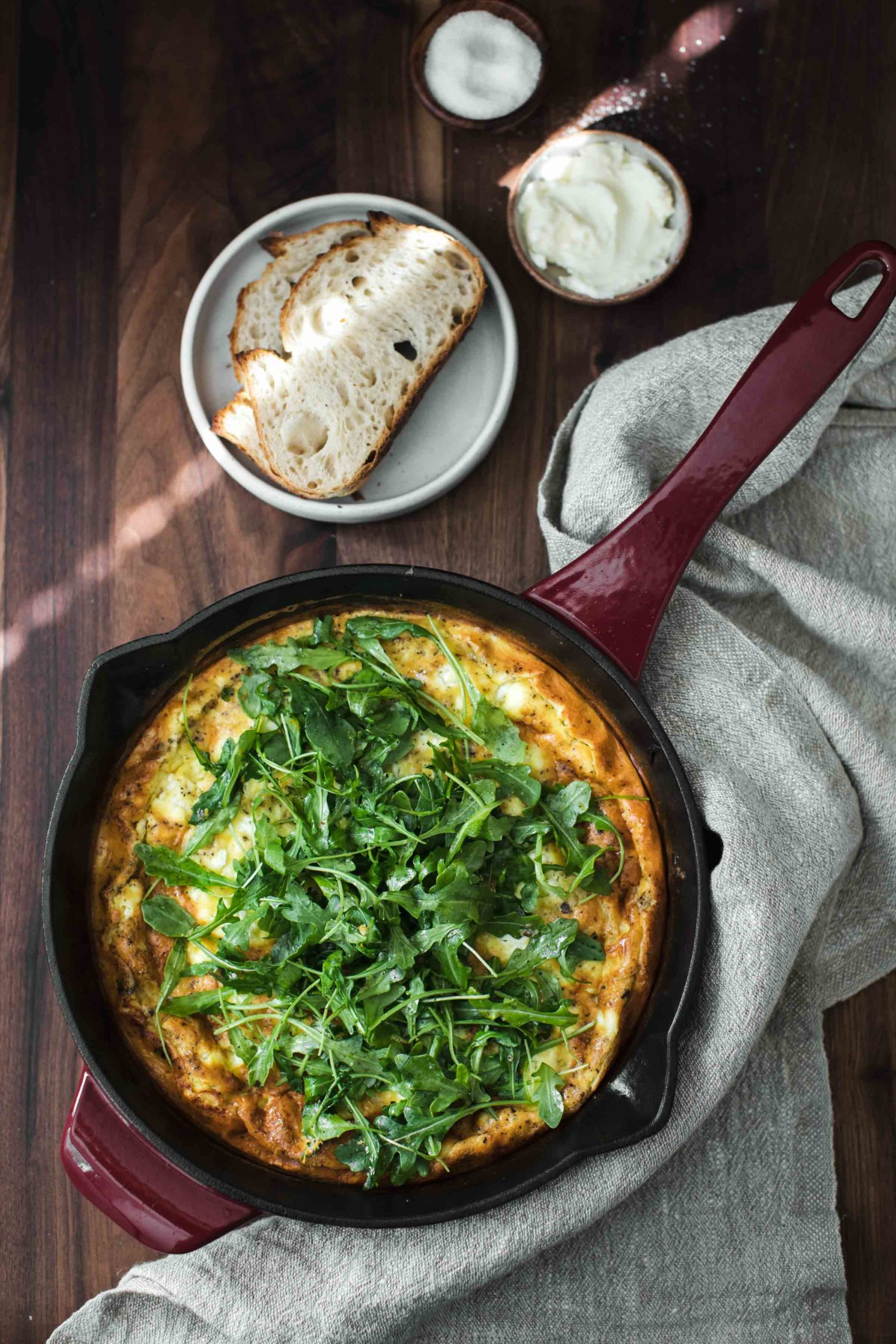 Onion Frittata with Goat Cheese and Arugula | Naturally Ella