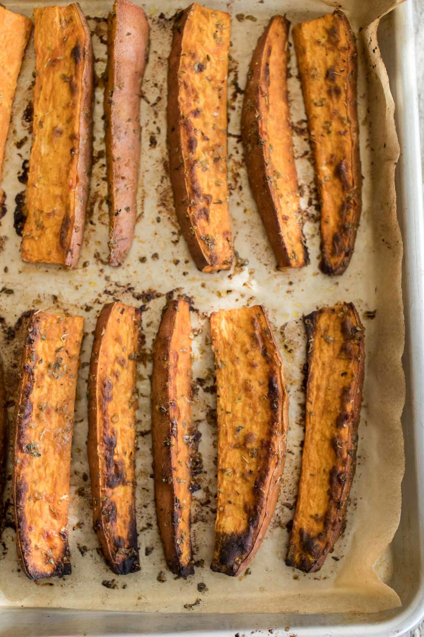 Spiced Sweet Potato Wedges with Chive Cream | Naturally Ella