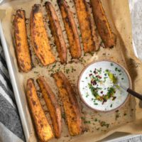 Spiced Sweet Potato Wedges with Chive Cream from Pretty Simple Cooking