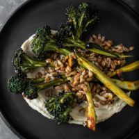 Farro with Chili Roasted Broccoli and Hummus