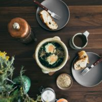 Kale Baked Eggs with Dukkah with Toast | Naturally Ella