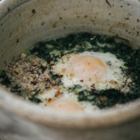 Kale Baked Eggs with Dukkah