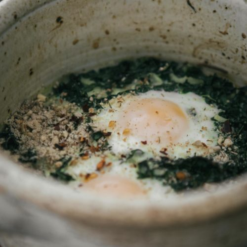 Kale Baked Eggs with Dukkah | Naturally Ella