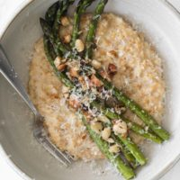 Einkorn Risotto with Roasted Asparagus