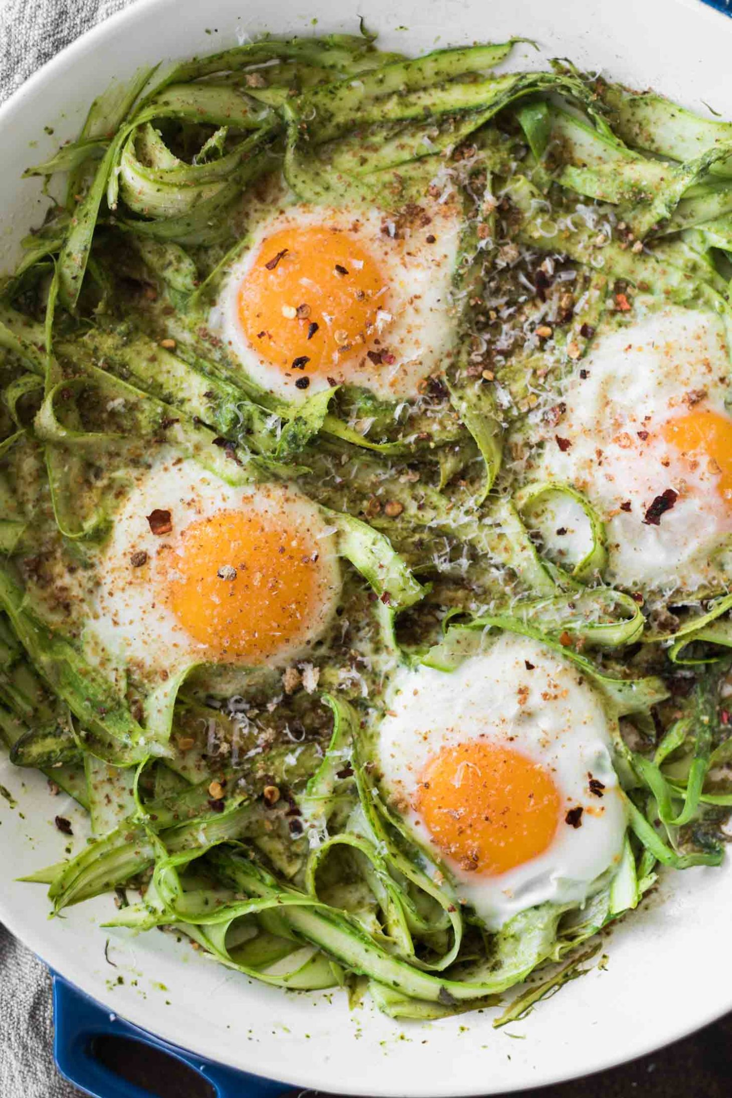 Pesto Asparagus Egg Skillet | Naturally Ella