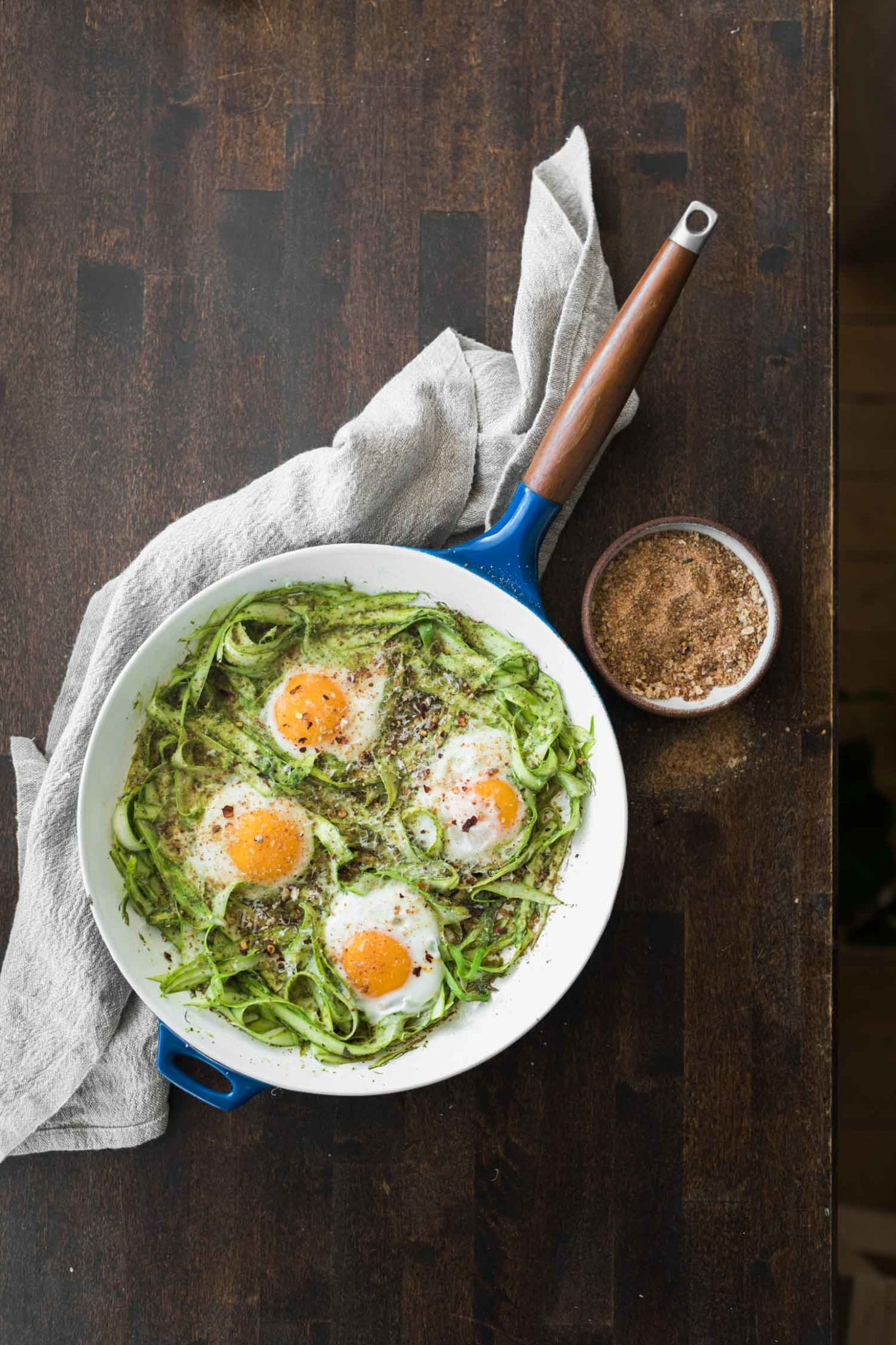 Pesto Asparagus Egg Skillet with Bread Crumbs | Naturally Ella