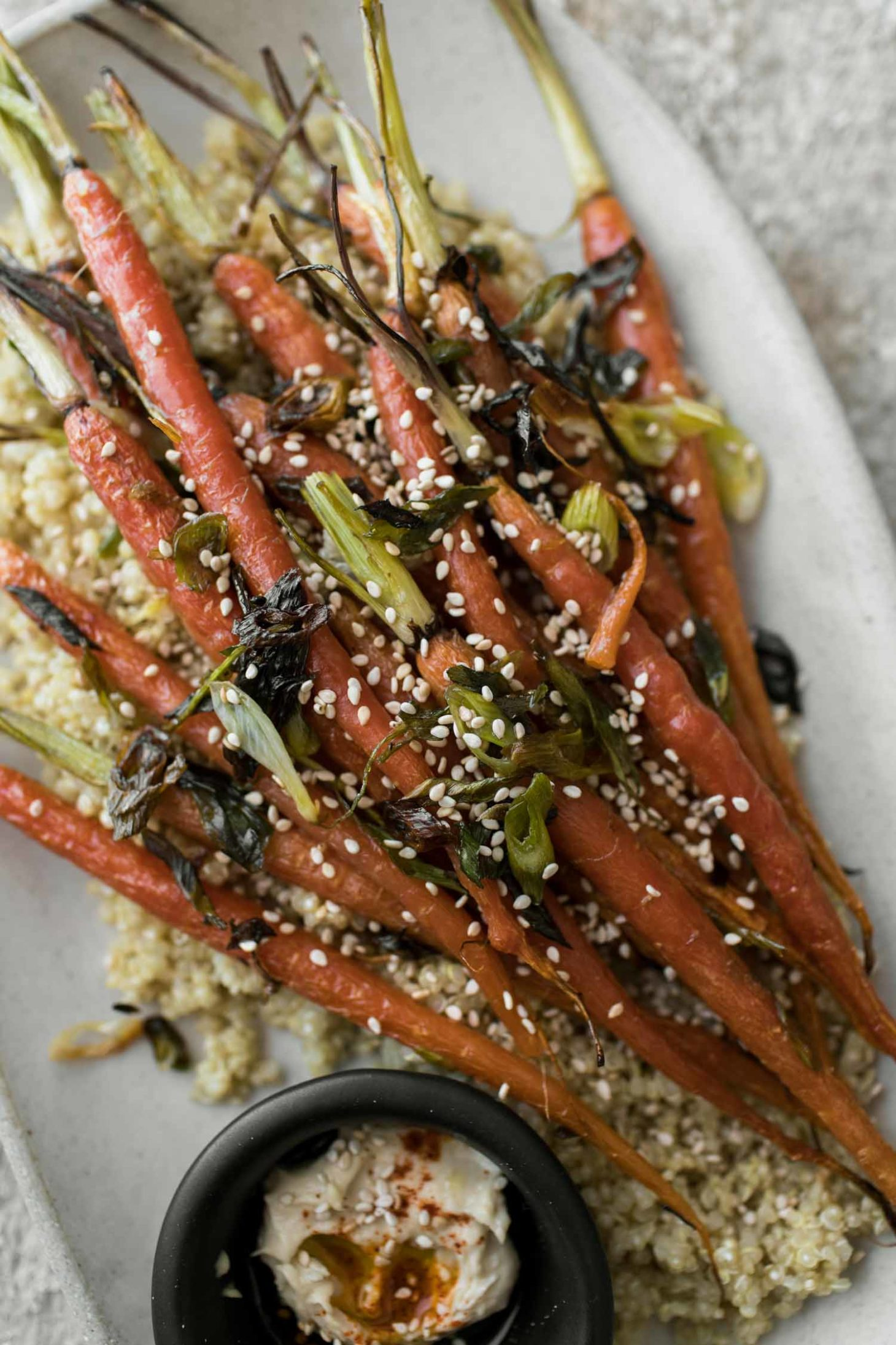Scallion Roasted Carrots with Quinoa | Naturally Ella