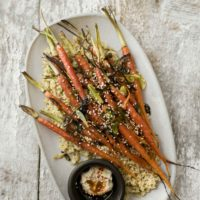 Scallion Roasted Carrots with Quinoa and Hummus | Naturally Ella