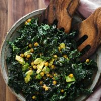 Avocado Kale Salad with Crispy Chickpeas