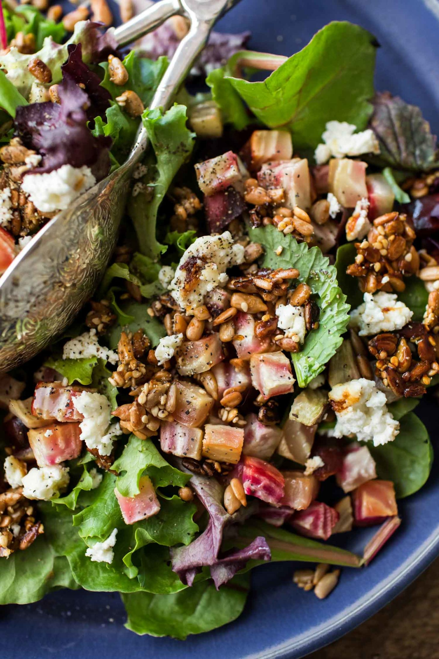 Beet Salad with Broiled Feta and Sesame Sunflower Seeds | Naturally Ella