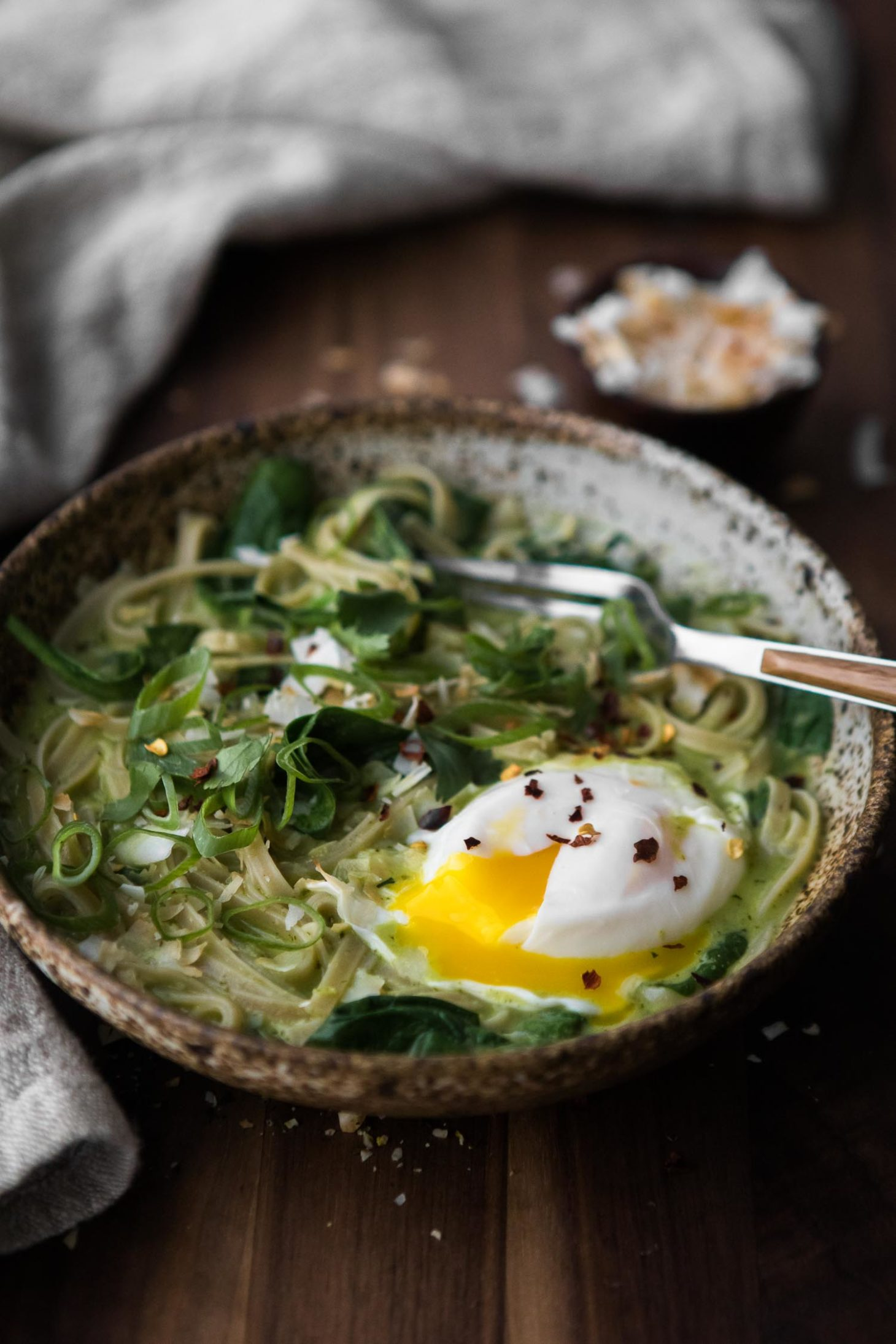 Green Curry Noodle Bowl with Poached Egg | Naturally Ella