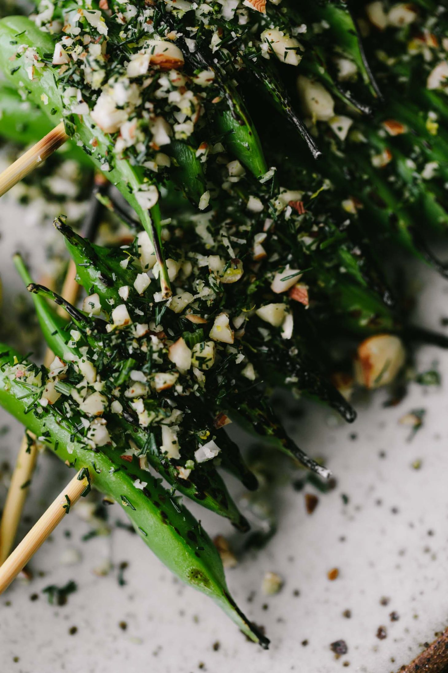 Grilled Snap Peas with Hazelnuts | Naturally Ella