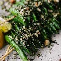 Grilled Snap Peas with Hazelnut-Dill Crumb