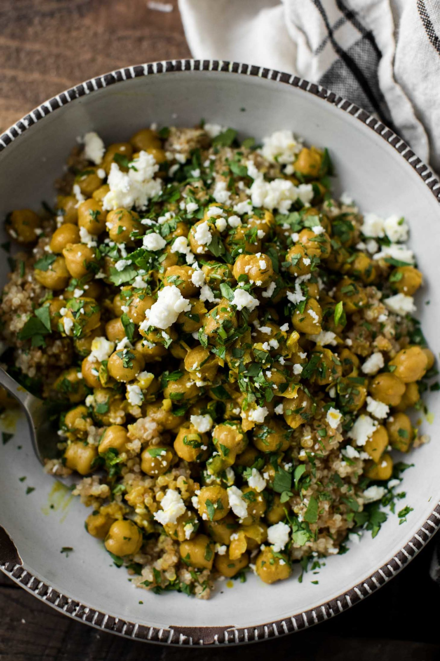 Curried Chickpea Bowls with Quinoa and Feta