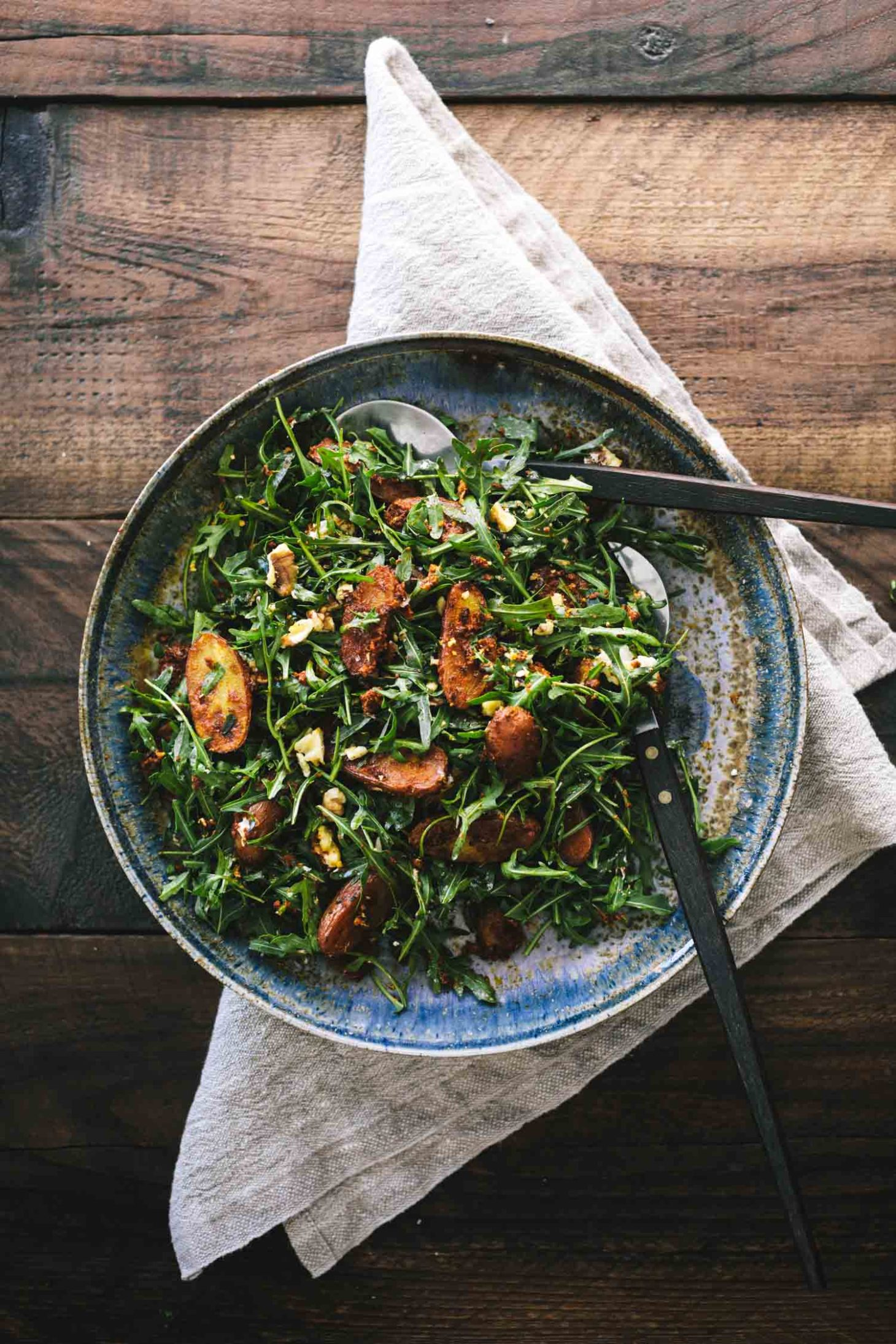 Arugula Salad with Romesco Potatoes with Walnuts | Naturally Ella