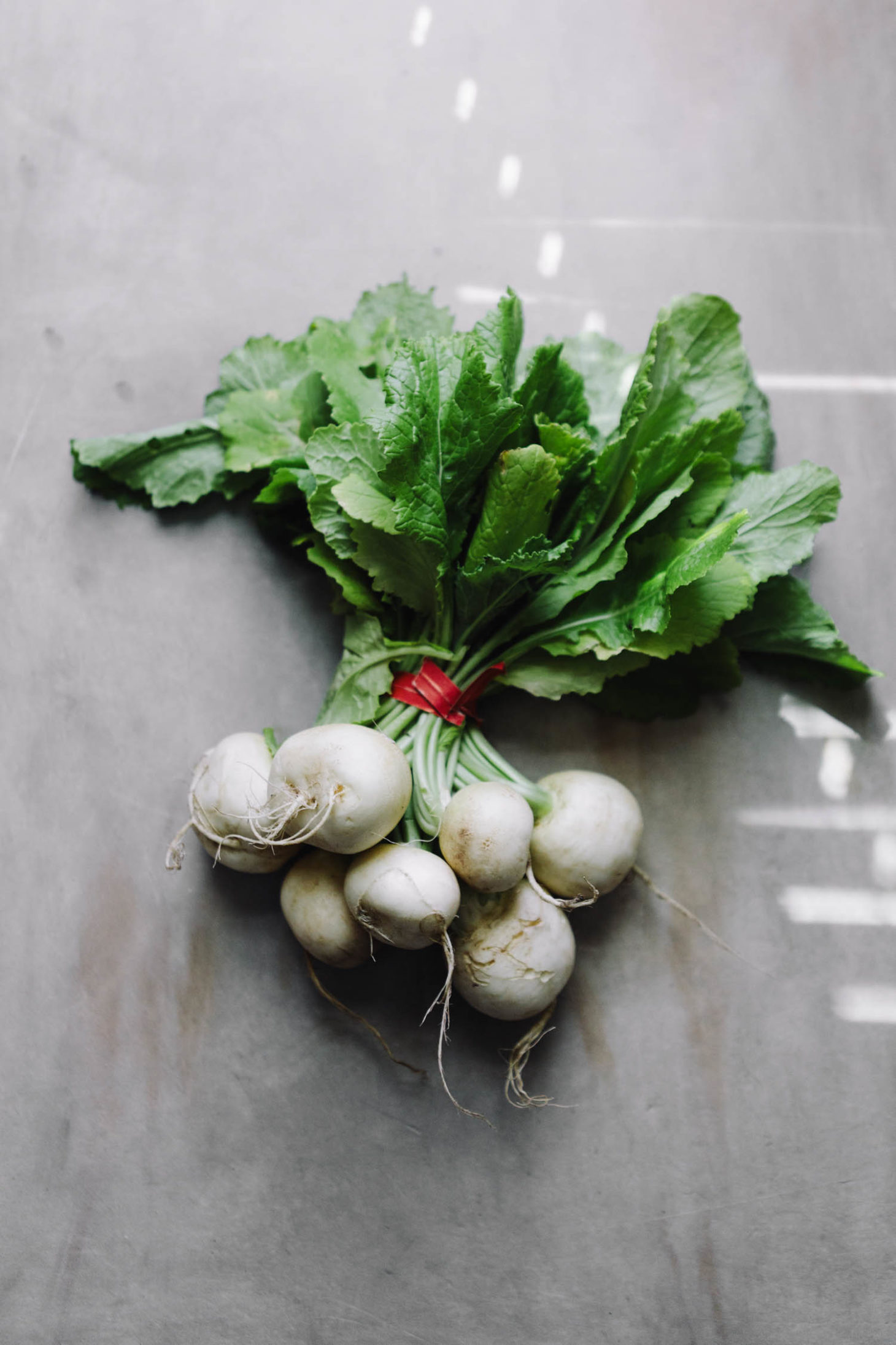 Overhead shot of Hakurei Turnips, a smaller, white variety of turnips