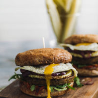 Loaded Summer Veg Burger with Fried Egg