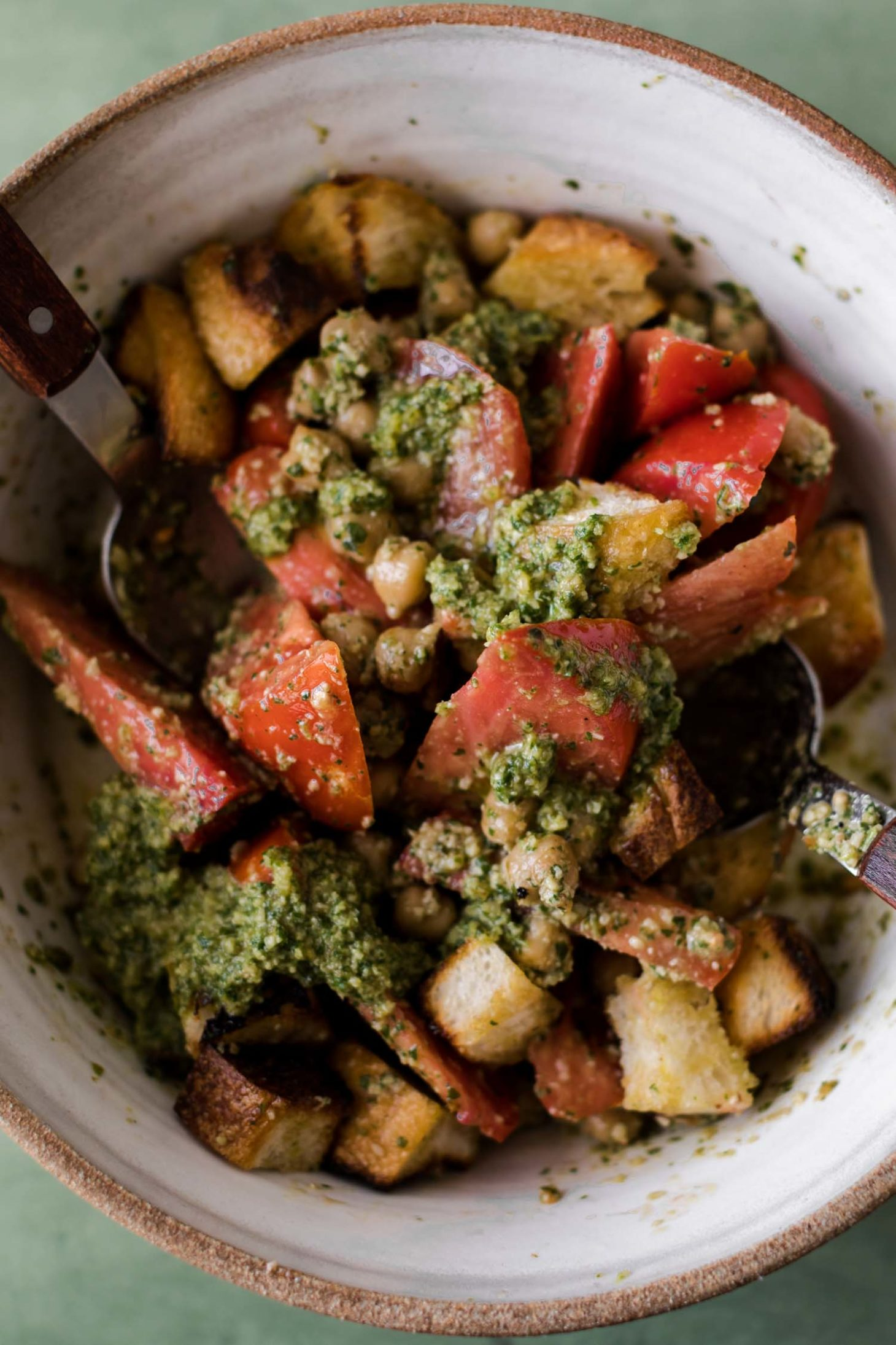 Overhead Shot of Chickpea Tomato Bread Salad with Arugula Pesto