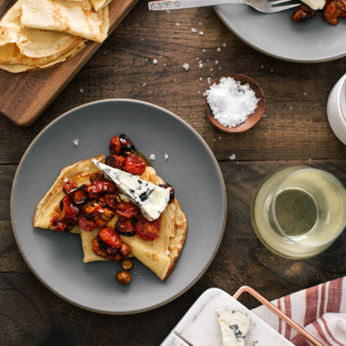 Crepes with Tomatoes and Butter Hazelnuts