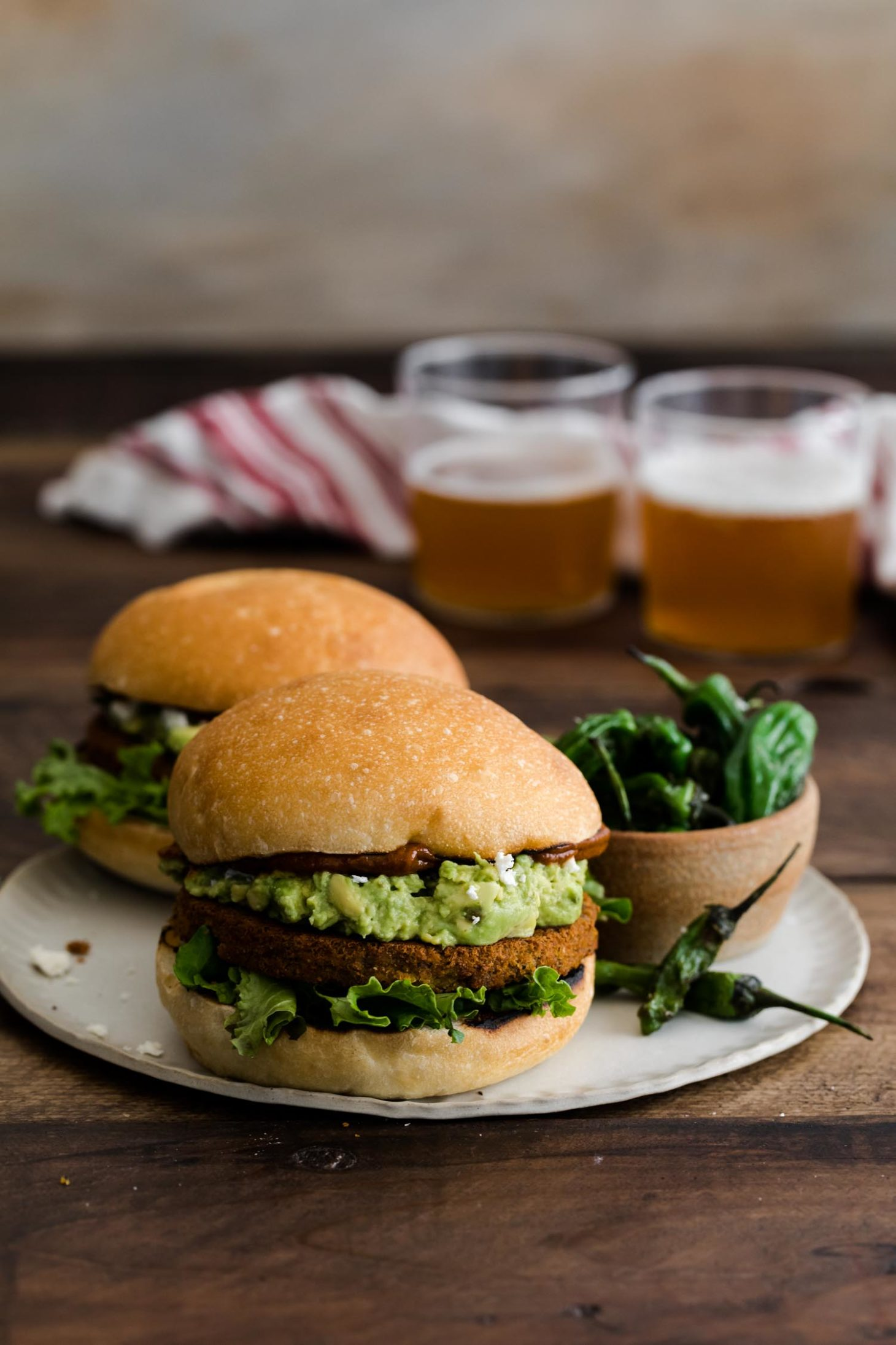 Vegetable Burger with Curried Ketchup and Avocado