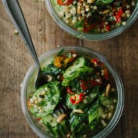 Cucumber Sorghum Salad with Peppers and Herbs