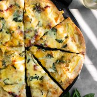 Blue Cheese Peach Pizza with Honey