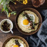 Sweet Corn Polenta with Fried Egg and Sun-Dried Tomato Relish