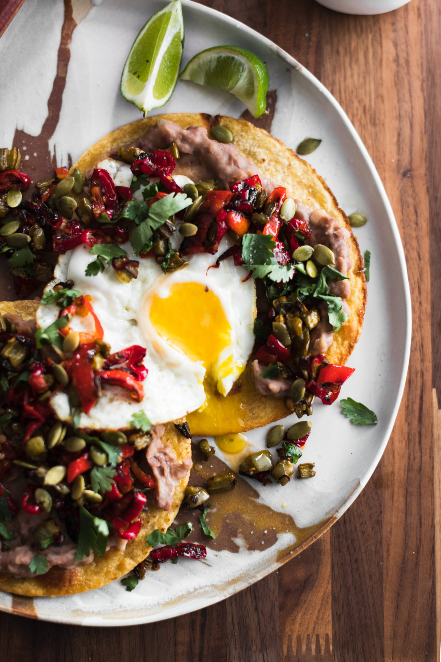 Pinto Bean Tostadas with Nopales and Eggs