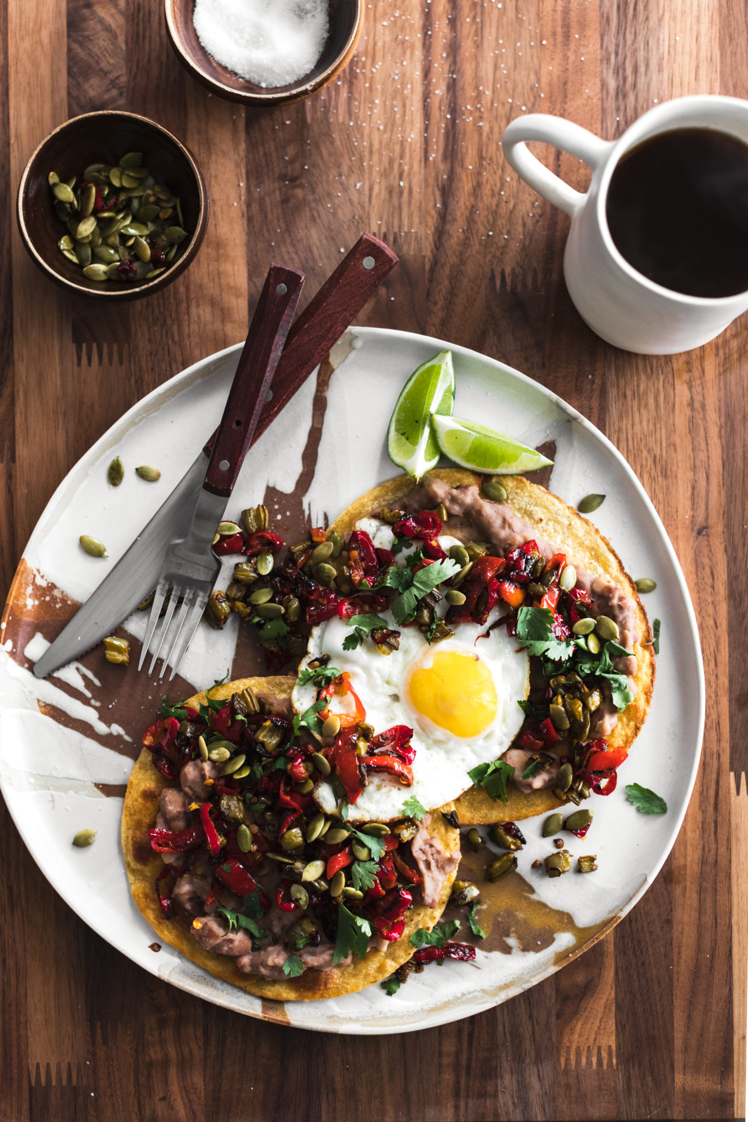Breakafst Tostadas with Pinto Beans, Nopales, Peppers, and Eggs