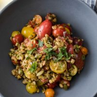 Harissa Tomato Salad with Farro