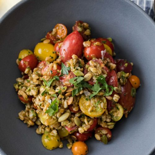 Overhead, close-up shot of a grain salad made with cooked farro, fresh grape tomatoes, and green harissa.