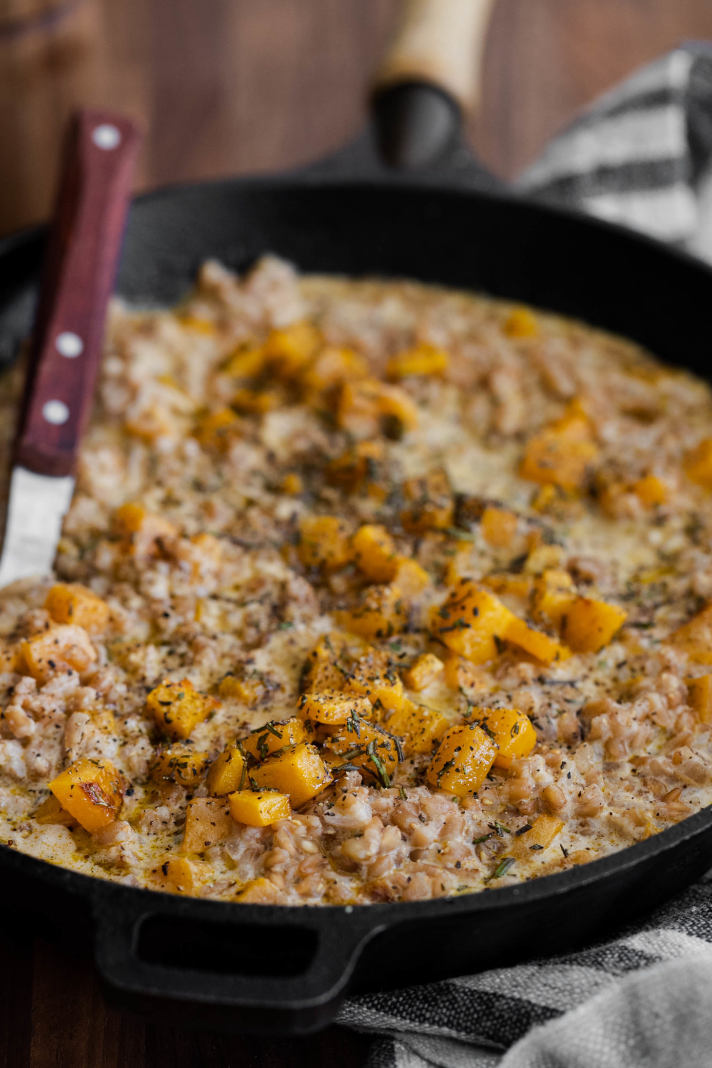 Side-angle shot of farro risotto with roasted butternut squash.