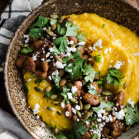 Roasted Pumpkin Polenta with Pinto Beans