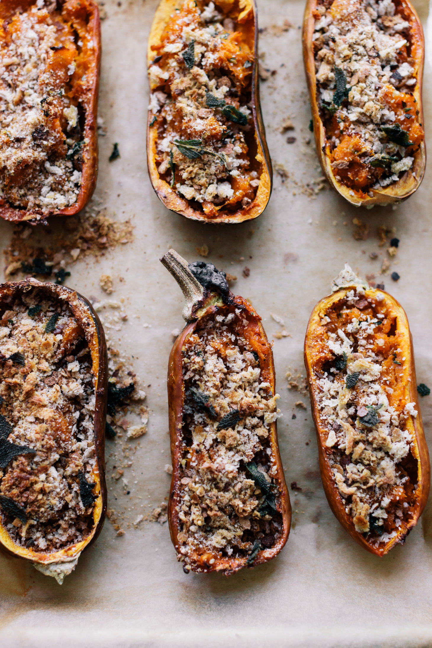 Overhead photo of twice-baked honeynut squash with breadcrumbs and brown butter