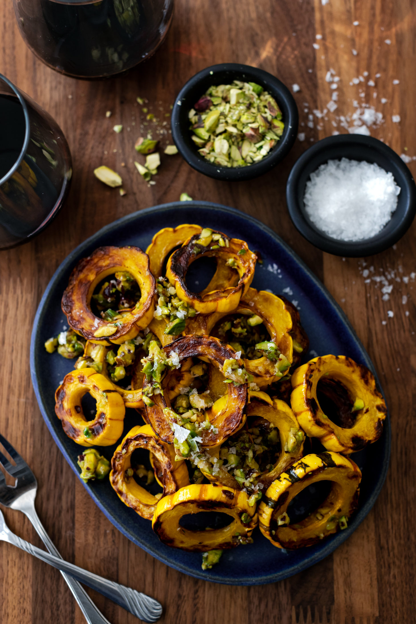 Roasted Delicata Squash with Honey Butter and Pistachios