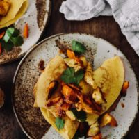Chickpea Crepes with Roasted Vegetables and Chipotle Compound Butter