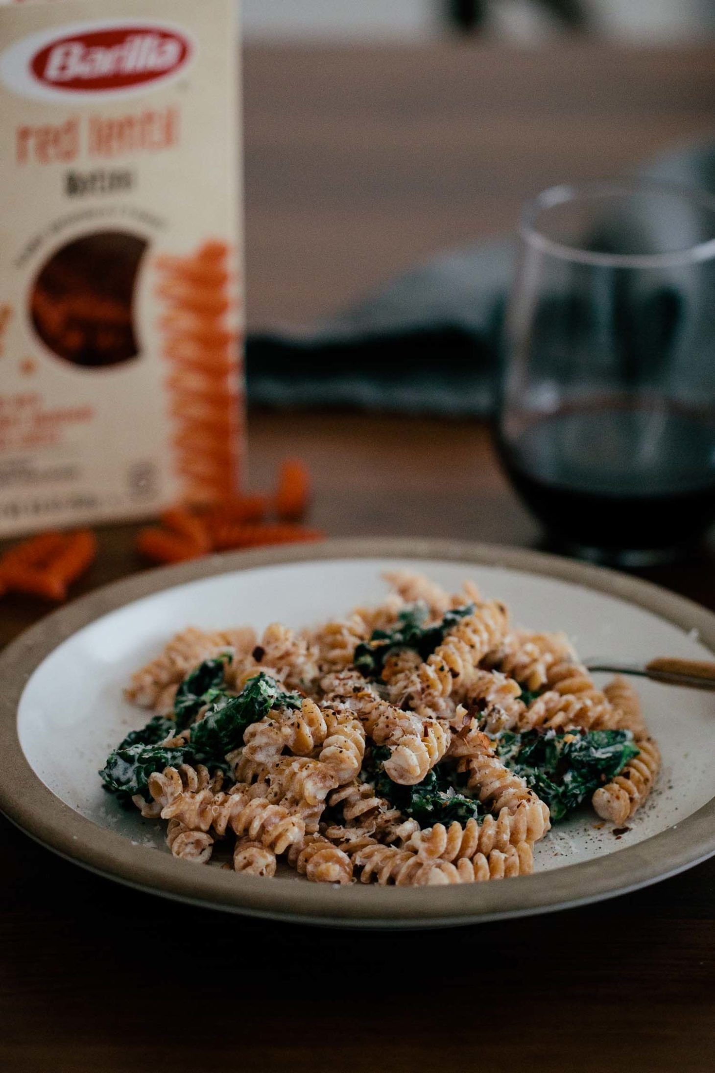 Lentil Rotini with Garlicky Kale and Goat Cheese Sauce