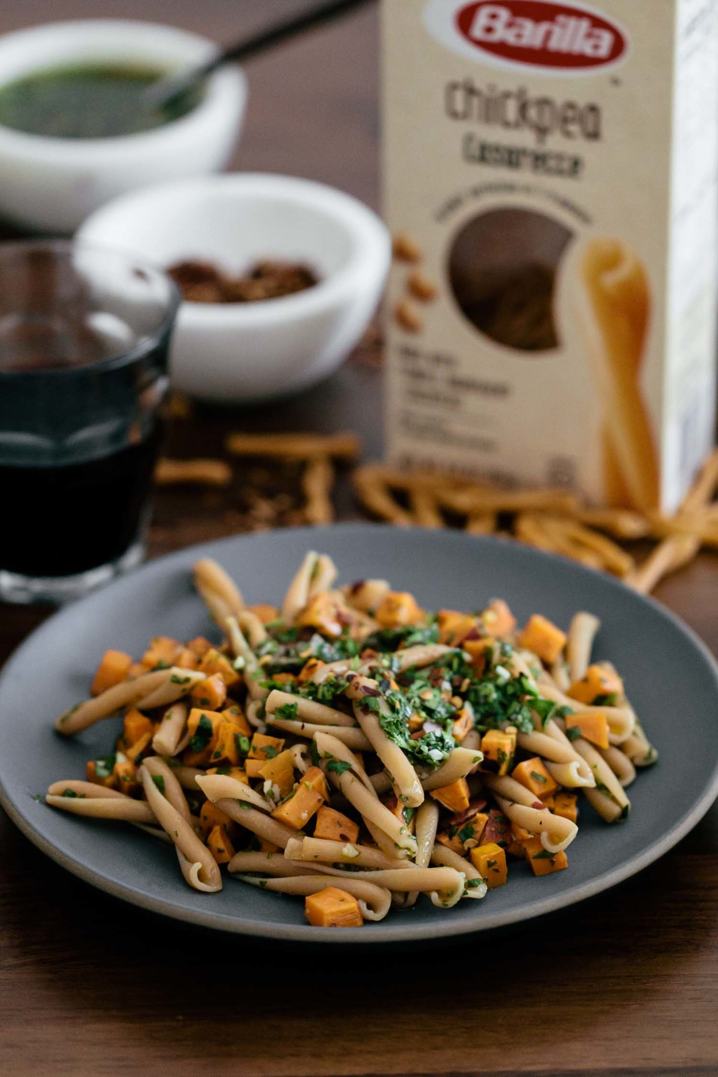 Chickpea Casarecce Pasta with Roasted Sweet Potatoes and Chimichurri