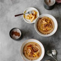 Amaranth Porridge with Caramelized Bananas and Pecans