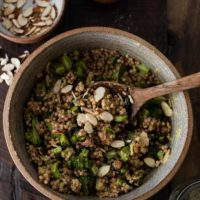 Overhead Photo Broccoli Salad with Couscous and Tahini Dressing